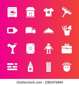 Premium set with fill vector icons. Such as roller, calendar, bottle, clothing, reminder, milk, machine, brush, clothes, paint, robot, plastic, baby, delivery, people, play, child, technology, game