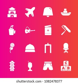 Premium set with fill vector icons. Such as bar, home, light, asia, sound, traffic, mic, vessel, temple, notification, armchair, chair, drink, karaoke, lamp, culture, template, play, aircraft, hat