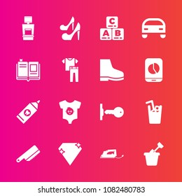 Premium set with fill vector icons. Such as drink, table, jewel, clothes, security, book, female, sand, child, kitchen, play, gem, hygiene, sandbox, car, fork, childhood, brush, health, kid, scan, toy