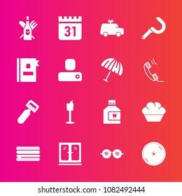 Premium set with fill vector icons. Such as sandwich, dessert, calendar, alcohol, cheeseburger, care, furniture, drink, disc, potato, hygiene, disk, hippie, tool, mouth, doughnut, sunglasses, interior