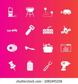 Premium set with fill vector icons. Such as spoon, luggage, cook, map, stationary, kitchen, food, keyboard, phone, point, pin, analytics, position, truck, carriage, destination, barbecue, shipping