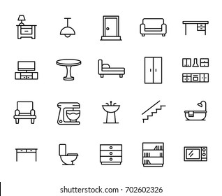 Premium set of furniture line icons. Simple pictograms pack. Stroke vector illustration on a white background. Modern outline style icons collection.