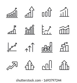 Premium set of growth line icons. Web symbols for web sites and mobile app. Modern vector symbols, isolated on a white background. Simple thin line signs.
