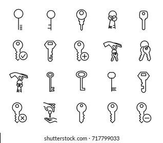 Premium set of key line icons. Simple pictograms pack. Stroke vector illustration on a white background. Modern outline style icons collection.