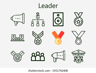Premium set of leader [S] icons. Simple leader icon pack. Stroke vector illustration on a white background. Modern outline style icons collection of Group, Organization, Medal, Speaker