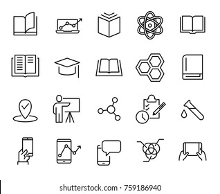 Premium set of learning line icons. Simple pictograms pack. Stroke vector illustration on a white background. Modern outline style icons collection.