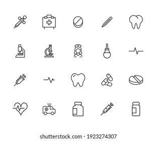 Premium set of medical service line icons. Web symbols for web sites and mobile app. Modern vector symbols, isolated on a white background. Simple thin line signs.