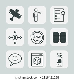 Premium set of outline, fill icons. Such as shipping, support, white, aircraft, speech, young, transportation, delivery, showing, estate, operator, fly, spray, chat, call, tank, plane, transport, real