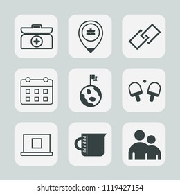 Premium set of outline, fill icons. Such as element, nature, kit, interface, help, hyperlink, sign, calendar, location, globe, cross, work, container, glass, link, sport, game, emergency, person, time