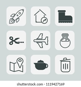Premium set of outline, fill icons. Such as medicine, trash, astronaut, house, pin, drink, can, market, spaceship, exploration, tea, breakfast, airplane, recycling, location, estate, hot, property