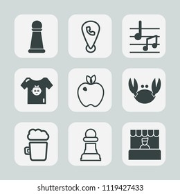 Premium set of outline, fill icons. Such as clothes, crab, chessboard, grocery, web, clothing, knight, food, game, drink, sign, sea, map, alcohol, internet, store, child, supermarket, king, apple, kid