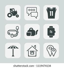 Premium set of outline, fill icons. Such as farming, road, map, machine, japan, shirt, architecture, sport, beverage, travel, umbrella, farmer, location, home, teapot, communication, vehicle, tea, sea