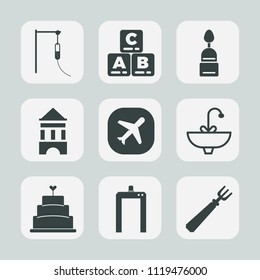 Premium set of outline, fill icons. Such as sign, girl, water, airplane, tower, scan, fun, baby, machine, toy, xray, bathroom, game, spoon, travel, childhood, pie, fork, cookie, sink, faucet, doughnut