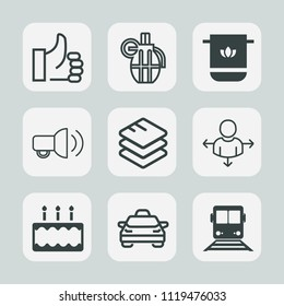 Premium set of outline, fill icons. Such as transportation, vehicle, finger, place, megaphone, travel, transport, data, train, towel, car, hand, ammunition, information, ok, pie, explosive, technology