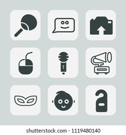 Premium set of outline, fill icons. Such as technology, karaoke, emotion, vintage, privacy, cartoon, photo, baby, cute, play, party, internet, computer, celebration, song, racket, voice, smile, music
