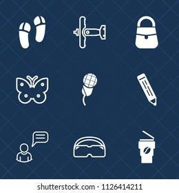 Premium set of outline, fill vector icons. Such as wing, audio, drink, hot, karaoke, communication, female, insect, mic, plane, accessory, flight, pencil, transport, person, war, slipper, music, chat