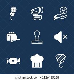 Premium set of outline, fill vector icons. Such as restaurant, stationery, sound, retro, construction, mic, studio, player, vintage, dollar, audio, voice, concert, train, food, envelope, music, vinyl