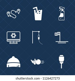 Premium set of outline, fill vector icons. Such as position, mexico, fashion, bottle, juice, map, medical, sport, ball, maid, lamp, direction, hat, location, water, place, baja, beach, travel, spray