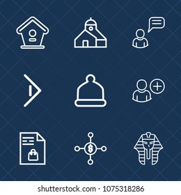 Premium set with outline icons. Such as head, industry, equipment, culture, house, shopping, spring, supermarket, business, right, hat, user, dollar, add, egyptian, bird, market, wooden, birdhouse