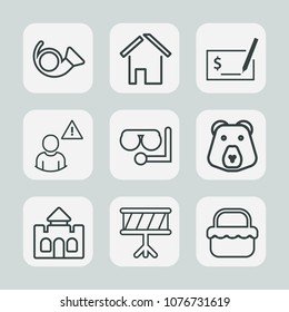 Premium set of outline icons. Such as grass, home, construction, grizzly, castle, medieval, architecture, business, check, glass, diving, music, bear, estate, instrument, property, sign, musical, pen