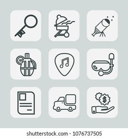 Premium set of outline icons. Such as military, vehicle, weapon, id, finance, hot, musical, card, astronomy, grill, night, war, sky, dollar, star, house, grenade, water, security, hand, money, cooking