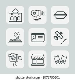 Premium set of outline icons. Such as kingdom, architecture, button, id, white, curtain, underwater, technology, equipment, airplane, hair, flight, castle, flipper, film, hamburger, handle, bun, sport
