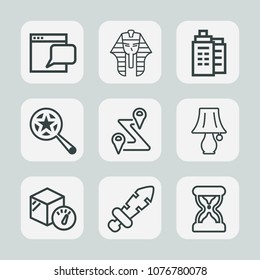 Premium set of outline icons. Such as web, find, weight, blade, box, map, network, culture, sword, clock, building, road, search, pharaoh, light, archeology, estate, lamp, bulb, route, egyptian, time