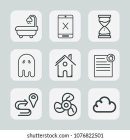 Premium set of outline icons. Such as location, subscription, air, route, navigation, style, house, halloween, cable, cord, bath, coaxial, hourglass, horror, wire, real, television, cool, clock, time