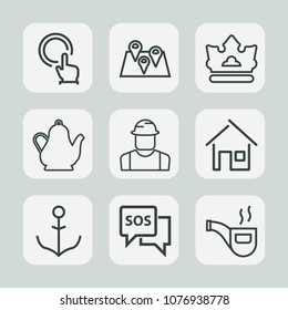 Premium set of outline icons. Such as kettle, ship, king, estate, press, road, building, push, drink, danger, construction, queen, button, touch, retro, home, engineer, classic, hot, wheel, nautical