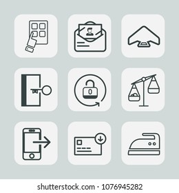 Premium set of outline icons. Such as envelope, sport, escape, iron, ironing, device, parachute, communication, open, sign, internet, mail, scale, sack, business, clothes, letter, money, parachuting