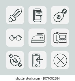Premium set of outline icons. Such as close, optical, housework, medieval, eyeglasses, musical, communication, battle, message, guitar, office, business, email, iron, glasses, ribbon, ironing, ancient