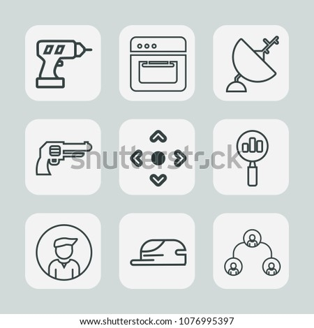Premium Set Outline Icons Such Wireless Stock Vector