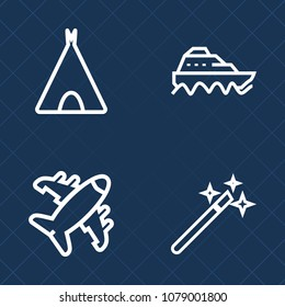 Premium set of outline vector icons. Such as shipping, hiking, airplane, transportation, flight, sky, sea, wand, magic, ocean, boat, outdoor, aviation, marine, vessel, air, travel, water, cargo, plane