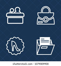 Premium set of outline vector icons. Such as white, graphic, hall, heel, file, handle, blank, circle, frame, fashion, audience, public, folder, paper, speaker, accessory, presentation, seminar, office