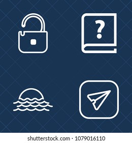 Premium set of outline vector icons. Such as password, pencil, author, unknown, phone, sign, background, nature, smartphone, blue, summer, sunny, web, email, handwritten, safety, padlock, sunset, sun