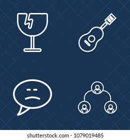 Premium set of outline vector icons. Such as structure, chat, concert, speech, manager, glass, rock, guitar, hole, musical, pattern, window, company, business, chatting, string, sound, communication