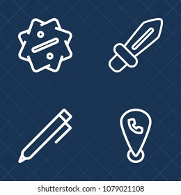 Premium set of outline vector icons. Such as education, ancient, blade, business, antique, internet, weapon, special, label, sale, dagger, phone, school, hand, steel, mobile, sword, fight, web, desk