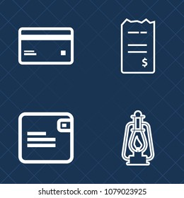 Premium set of outline vector icons. Such as document, old, pay, commerce, electronic, debit, bill, currency, plastic, shopping, white, credit, ancient, purse, female, gas, buy, retail, lantern, bag