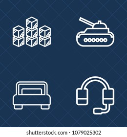 Premium set of outline vector icons. Such as army, home, vehicle, double, delivery, sound, storage, store, armor, bedroom, technology, war, call, furniture, warehouse, hotel, goods, cargo, industrial