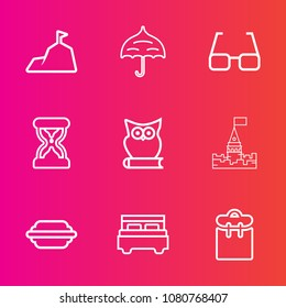 Premium set with outline vector icons. Such as double, hamburger, landscape, panorama, bedroom, castle, bun, umbrella, lettuce, phone, architecture, timer, open, clock, person, animal, people, bed