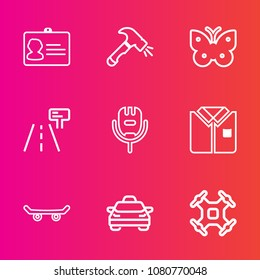 Premium set with outline vector icons. Such as skate, hammer, karaoke, microphone, fly, tool, id, wing, name, extreme, aerial, insect, card, security, road, board, skater, song, control, fashion, taxi