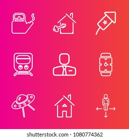 Premium set with outline vector icons. Such as celebration, railway, steam, employee, ufo, key, architecture, direction, heat, watch, pot, agent, apartment, home, kitchen, employer, house, estate, tea
