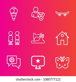 Premium set with outline vector icons. Such as happy, fashion, online, dessert, extreme, machine, boy, summer, skater, ice, house, sew, real, food, computer, estate, ball, star, skate, cold, wing, fly