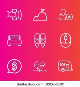 Premium set with outline vector icons. Such as phone, transport, label, status, vehicle, blue, online, home, , bedroom, fish, computer, internet, telephone, tag, web, price, mobile, profile, peak, sea