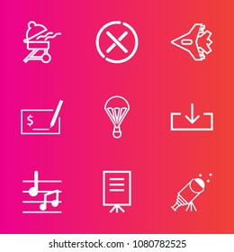 Premium set with outline vector icons. Such as meat, sign, plane, parachuting, food, aircraft, check, star, grill, barbecue, download, cancel, sound, telescope, no, stop, people, business, grilled