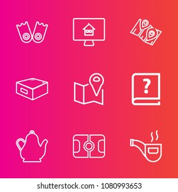 Premium set with outline vector icons. Such as tea, buy, book, location, vintage, old, sport, estate, graphic, travel, kitchen, retro, pin, pipe, classic, kettle, flipper, navigation, gps, water, real