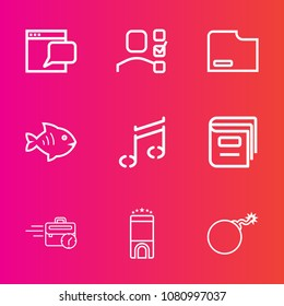 Premium set with outline vector icons. Such as late, fish, personal, education, file, management, document, list, bomb, music, concept, task, food, room, book, note, hotel, sound, war, communication