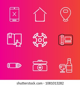 Premium set with outline vector icons. Such as book, architecture, military, click, weapon, glass, building, control, cable, stationary, subscription, coaxial, estate, drone, location, gun, helicopter