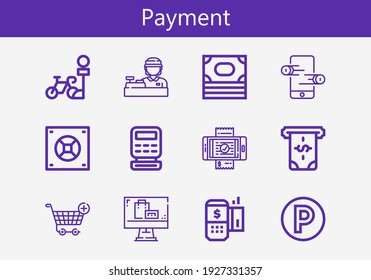 Premium set of payment line icons. Simple payment icon pack. Stroke vector illustration on a white background. Modern outline style icons collection of Money, Online store, Safebox