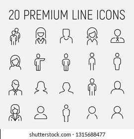 Premium set of people line icons. Simple pictograms pack. Stroke vector illustration on a white background. Modern outline style icons collection